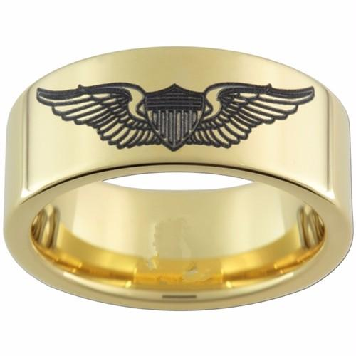 8mm gold pipe tungsten carbide ring comfort fit pilot wings black - Military Wedding Rings