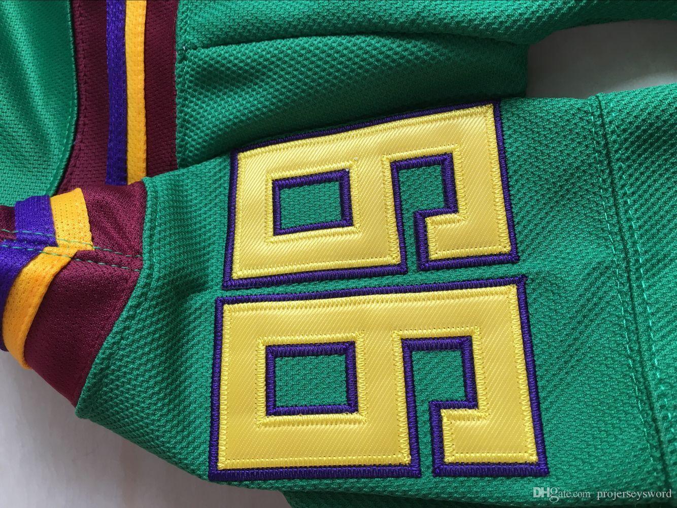 Mighty Ducks-Trikot 66 Gordon Bombay 96 Charlie Conway 99 Adam Banks-Eishockeytrikot Die mächtigen Enten von Anaheim Men Movie Trikot Grün S-3XL