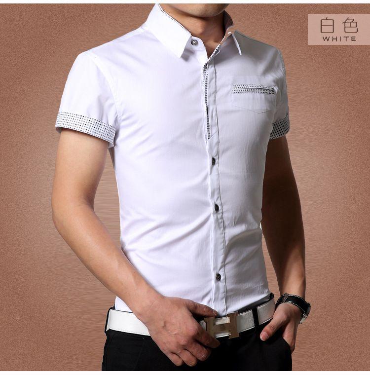 Men shirt/casual shirt Cool Muscle Fit Shirts Short Sleeve Men T-shirts Fashion Men Tops Tee Cotton Slim Casual Short-sleeved Shirt Metal