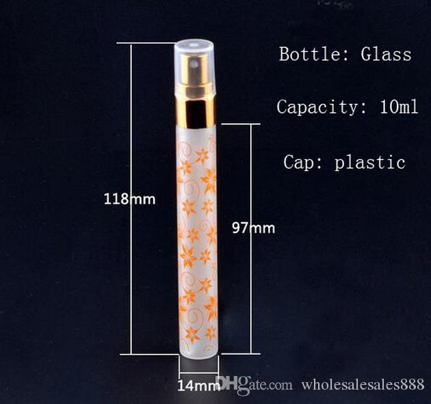 10 ml Benzersiz Baskı 6 Renkler Mini Atomizer Cam Sprey Parfüm Şişeleri Seyahat Küçük Cam Parfüm 300 Adet / grup DHL Tarafından Ücretsiz nakliye