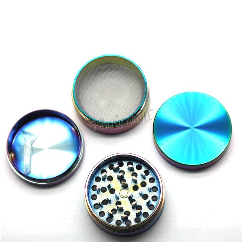 Arcobaleno Grinders Ice Blue Blue Linc Lega di Zinco Metallo Accessori 40 50 55 63mm Diametro 4 parti Asciugamani Asciugamani Asciugamani