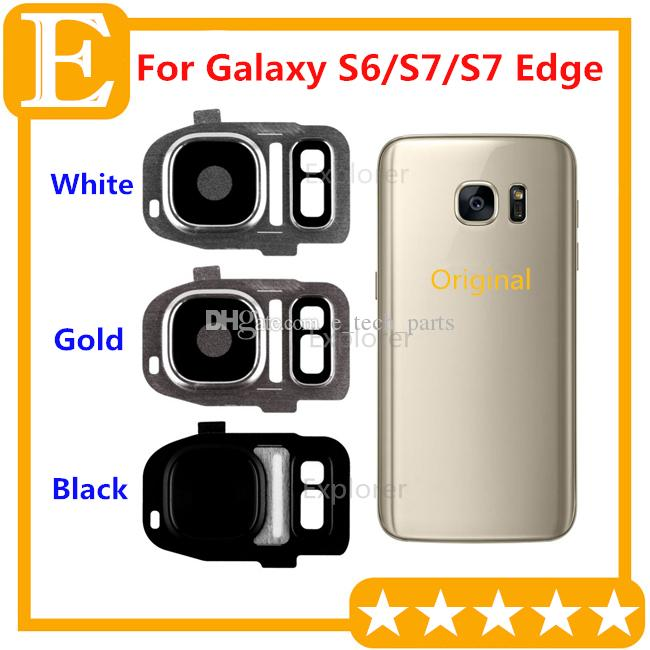 promo code 0aeb0 3c597 OEM Back Camera Lens Cover for Samsung Galaxy S6 G920F VS S7 S7 edge G930  G935 Adhesive Sticker Glass Replacement Parts 10PCS/Lot