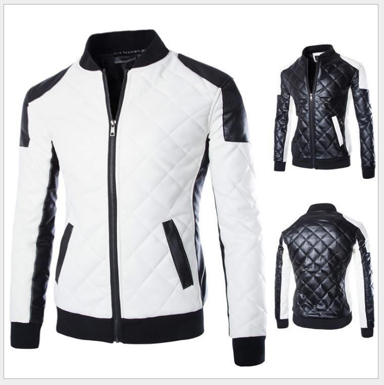 b7249f0ae2a 2019 Black White PU Leather Jacket Men Cotton Padded Warm Patch Design  Rhomboids Pattern Rib Stand Collar Zipper Pocket Mens Winter PU Jacket From  ...