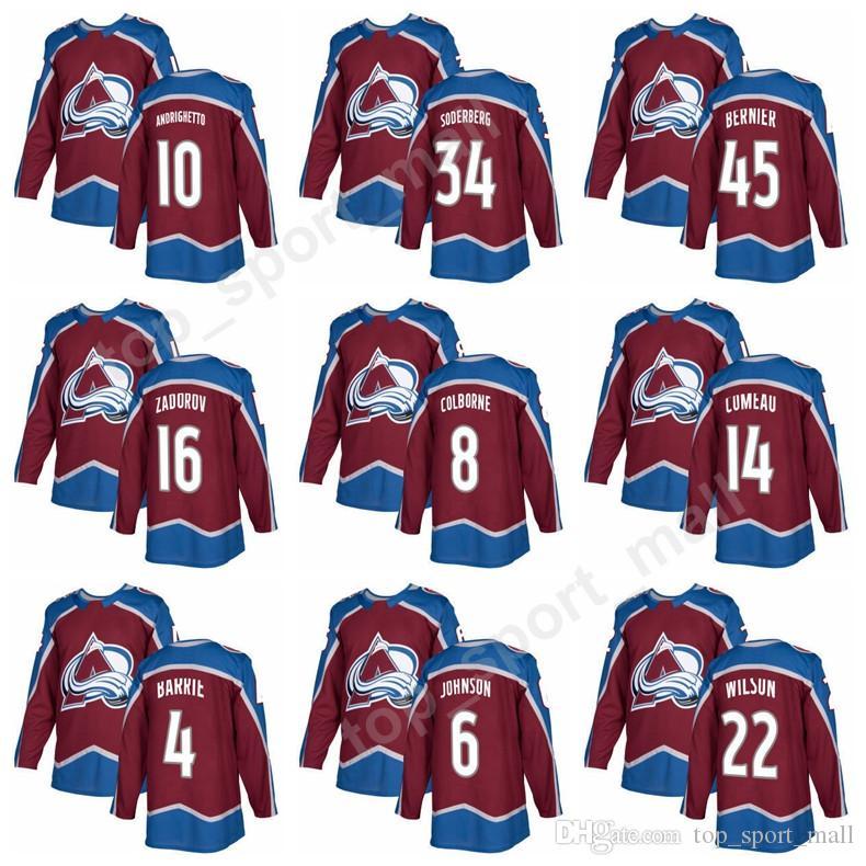 san francisco e0233 b3daf Colorado Avalanche 10 Sven Andrighetto Jersey 34 Carl Soderberg 45 Jonathan  Bernier 8 Joe Colborne Jerseys Ice Hockey Custom Red