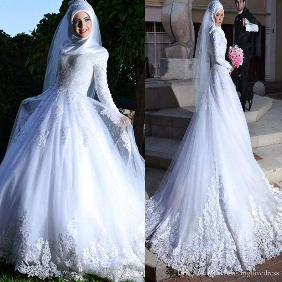 Discount Long Sleeve Muslim Hijab Wedding Dress Lace Up Back Lace ...