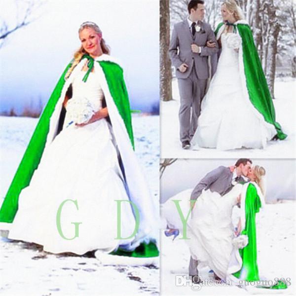 Hochzeit Braut Fantasie Ganzkörperansicht Kap Weißes Fell Muff Satin Futter Und Ultra Warm Füllen Winter Damenmäntel 2017