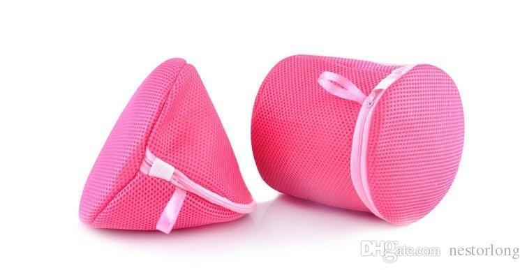 2 unids / set ronda y forma de triángulo utilitario ropa interior sujetador ayuda malla de lavado cesta de la red de lavado bolsa de cremallera de almacenamiento