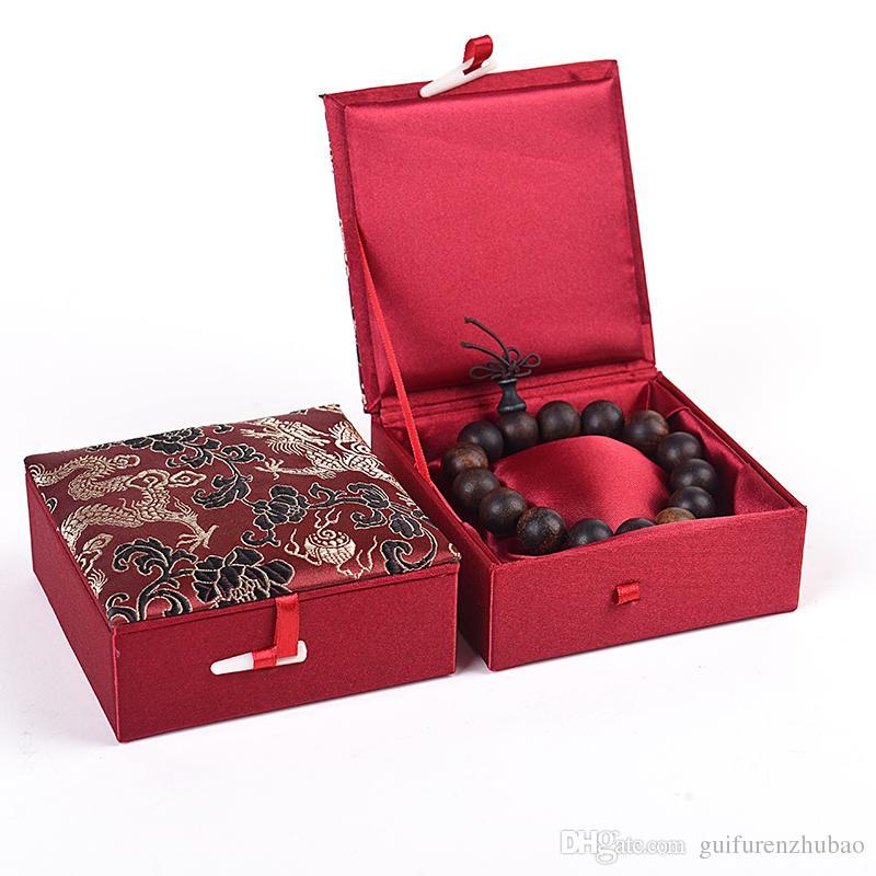 Ethnique Dragon Bracelet Boîte à Bijoux Cadeau En Coton Rempli Vitrine Chinois En Soie De Brocart En Carton Décoratif Emballage Boîtes