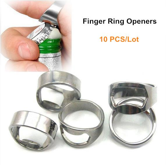 Creative Stainless Steel Jar Openers Finger Ring Beer Wine Bottle Opener  Inner 22 mm Kitchen Cooking Bar Tool ( 10 PCS/Lot )
