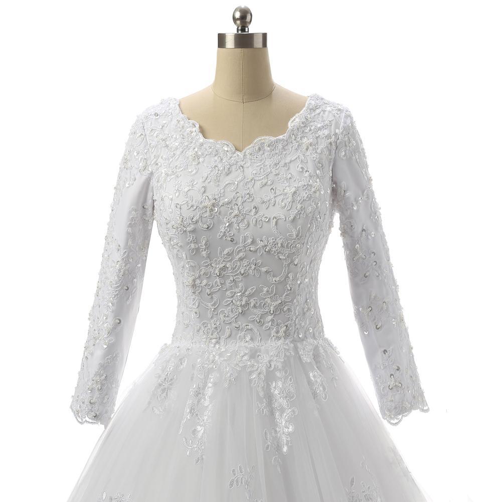 Bateau cou dentelle Tulle Robe de mariée manches 3/4 2020 Robes de mariage Appliques lacent
