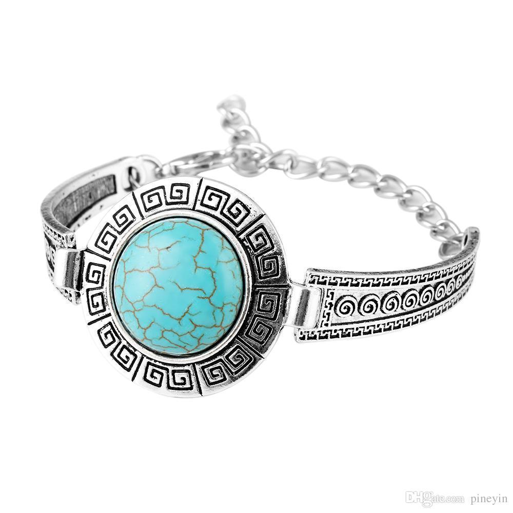 wholesale Turquoise bracelets fashion jewelry big green turquoise charm bracelets retro bracelet silver plated bangle TB0005