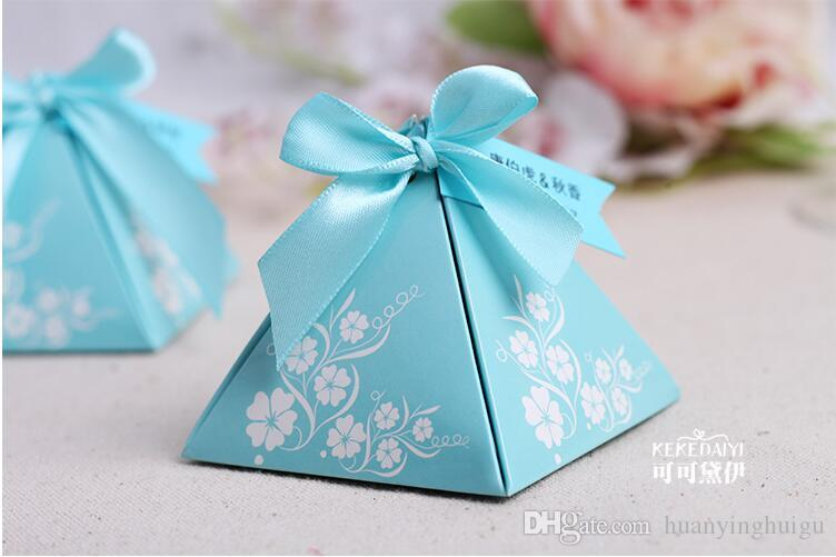 European style pink Pearl paper triangle pyramid Wedding boxs Candy Box gift boxs wedding baby birthday favour boxes THZ185