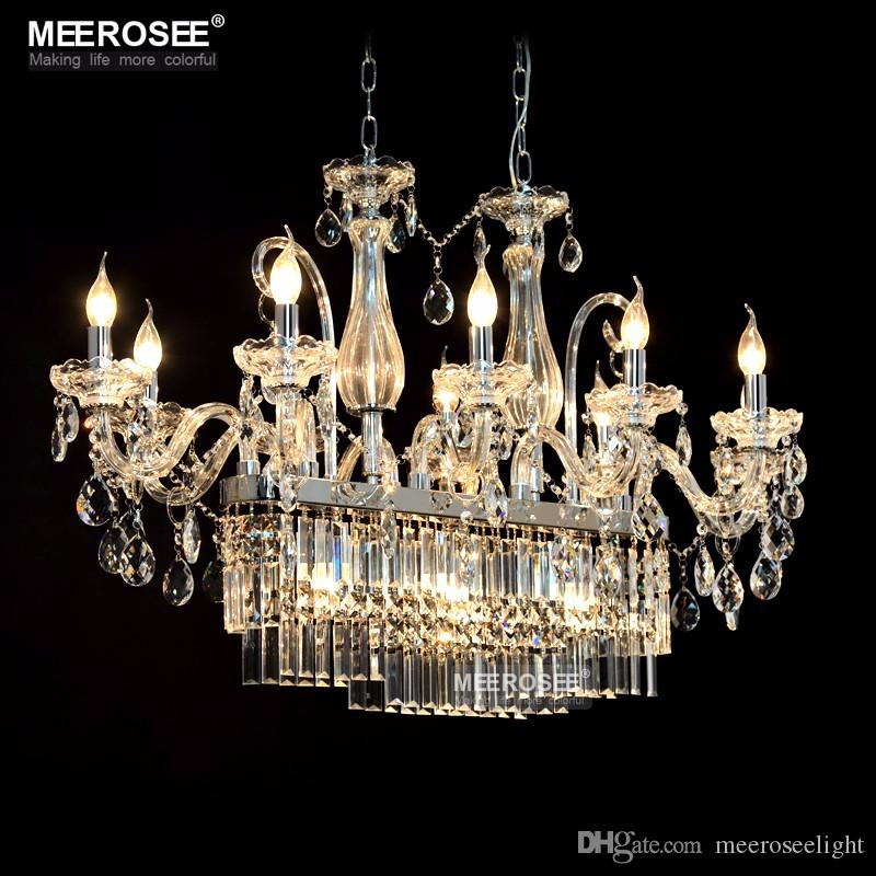 Gorgeous Rectangle Crystal Chandelier Light Fixture 13 Lights Glass Lighting Re Hanging Dining Room Drop Lamp Flush Mount Wine