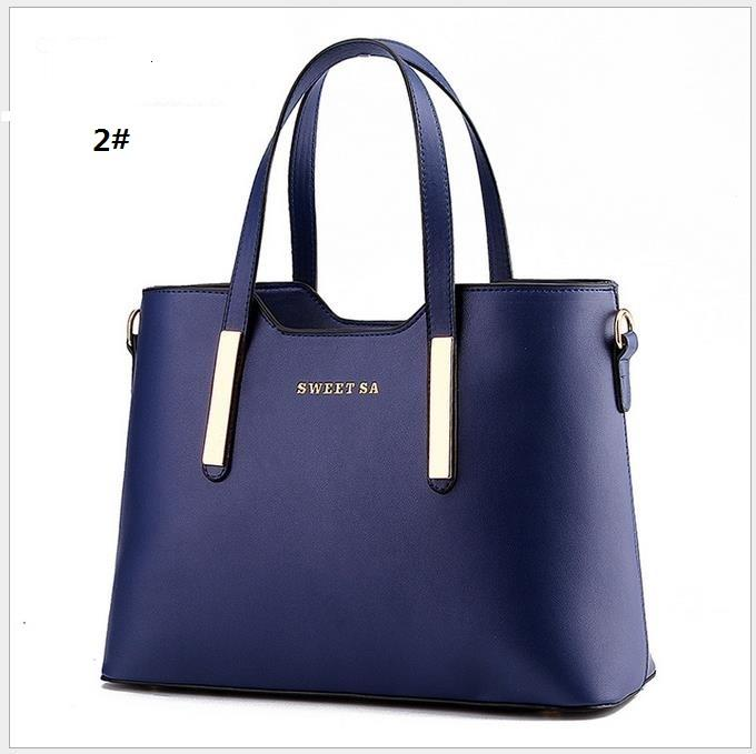 Navy Blue Women Handbag Shoulder Bags Tote Purse Leather Lady ...