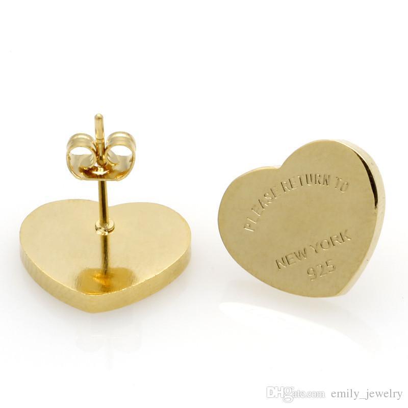 2017 mode nouvelle arrivée marque titane acier coeur amour boucles d'oreilles pour femme bijoux 18 k plaqué or 10 MM et 14 MM large fille cadeau avec logo