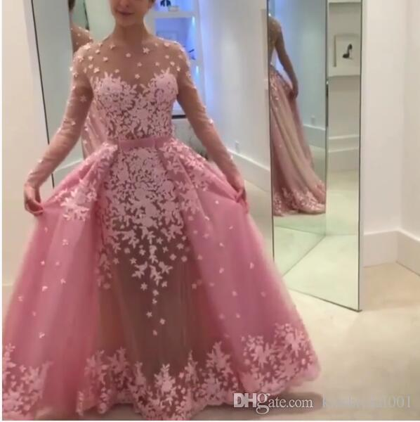 Detachable Formal Evening Dresses Overskirts Long Sleeves Lace Pink Long Prom Gowns Illusion Crew Neck Covered Button Tulle Ball Gowns