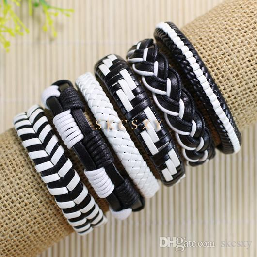 Retro Leather Men Wrap Punk Bracelet Bangles Wristband Belt Handmade Vintage Bracelet Genuine Cowhide Leather Bracelet-TE84
