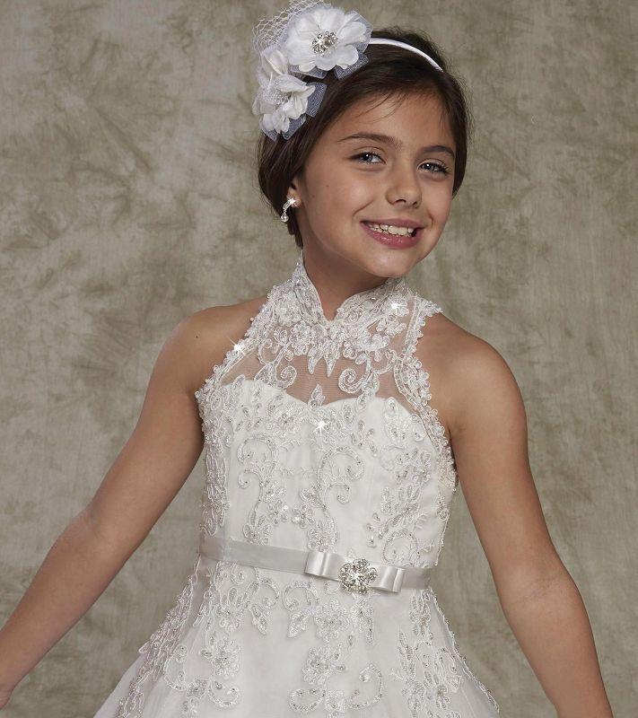 2018 Yeni Uzun Pageant Elbiseler Genç için Yüksek Boyun Düğmesi Geri Dantel Boncuklu Zarif Düğün Parti Toddler Çiçek kızın Törenlerinde ile Yay ...