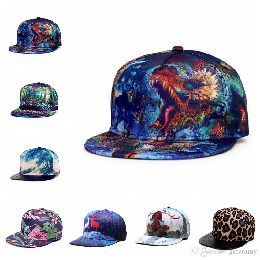 2018 New 3d Printing Caps Pattern Sports Hats Baseball Cap Women Men ...