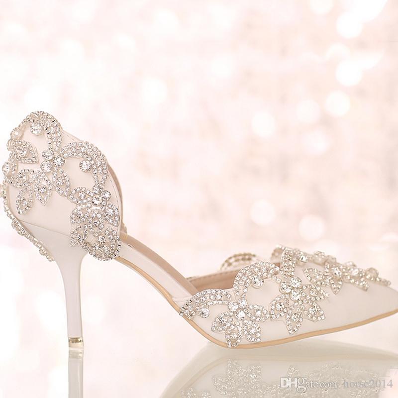 Sandales d'été blanc bout pointu chaussures de soirée de mariage mariée cristal chaussures à talons hauts robe de mariée avec des sangles strass cheville