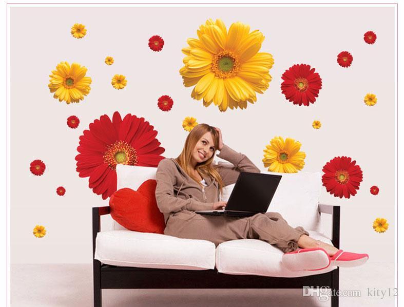 Daisy Flower Living Room Vinyl 3D Wall Stickers Window Decor Bedroom Kitchen Wall Decals Home Sticker