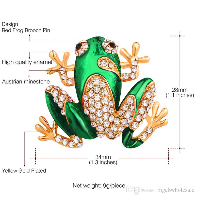 U7 Jewelry Cute Frog Brooch Luxury Rhinestone& High Quality Enamel Frog Jewelry Component 18K Gold Plated Vintage Frog Brooch Pin B2724