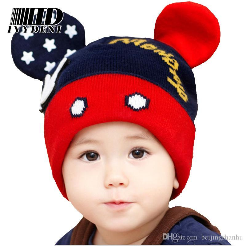 caa161f2bee Fashion Children Beanie Hats Winter Cap Warm Wool Cute Toddler Crochet  Mickey Hat Ears Hats Baby Hat For Girls Boys 0 4 Years Ski Hats Newborn Hats  From ...