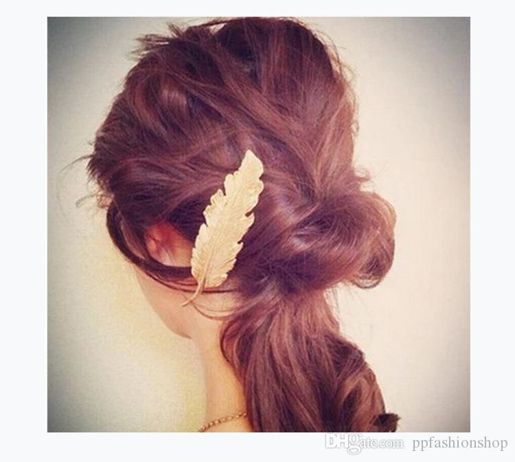 2017 nouvelle marque bijoux rétro exagérée alliage plume en épingle feuilles feuille côté clip printemps prêle en épingle à cheveux en gros
