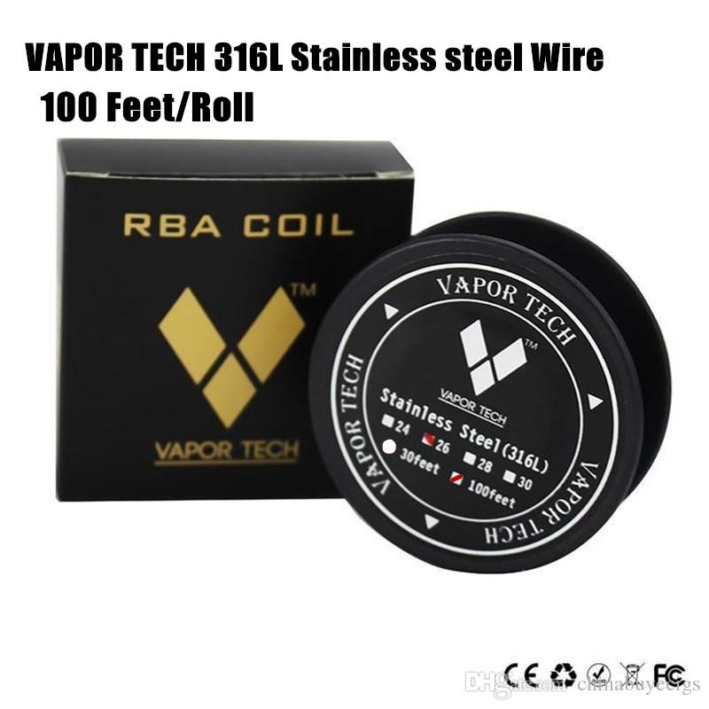 Authentic VAPOR TECH SS316 Wire High Resistance Stainless steel Heating Wire 26 28 30gauge AWG 100 Feet/Roll Vaportech ecigs Resistance Coil