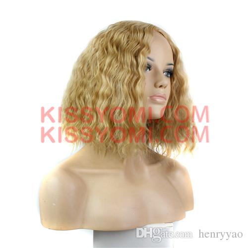 Women Synthetic Cheap Wig Capless Beige Blonde Medium Short Deep Wave Daily Lolita Drag Party Celebrity Wig