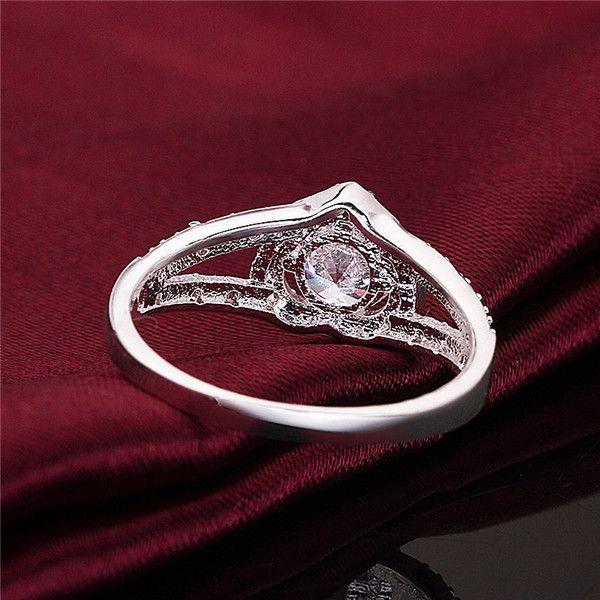 Marca 925 anéis de prata em forma de coração diamante GSSR388 fábrica venda direta moda esterlina de dedo de prata