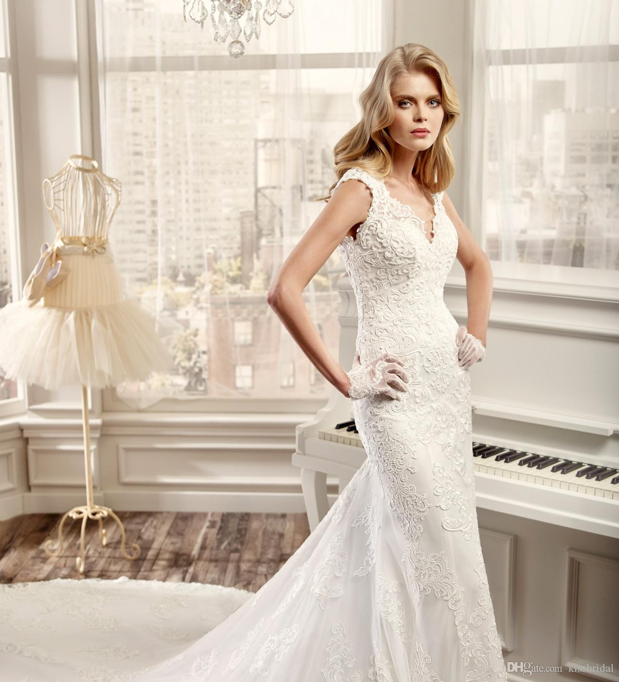 Vintage Full Lace Applique 2016 Wedding Dresses Mermaid V