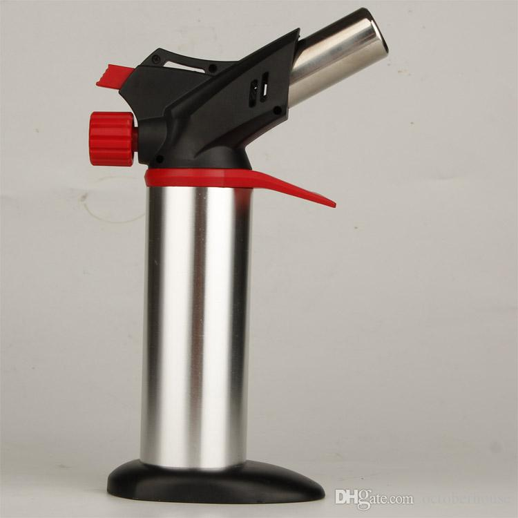 XXL Silver torch butane lighter Outdoor barbecue spray lighters convenient Smoking tools for kitchen use NO Gas With Retail Package sale