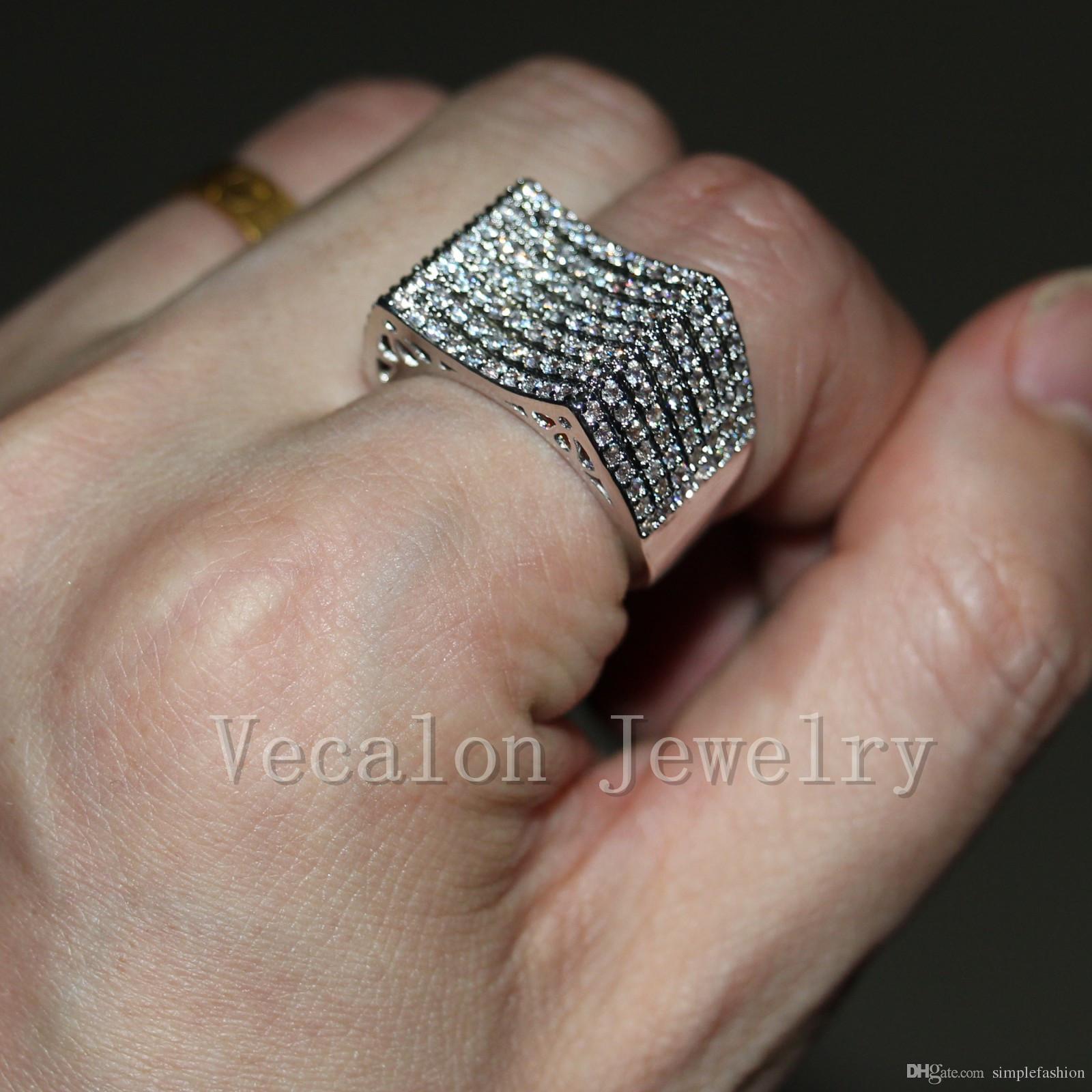 Vecalon 수제 토파즈 시뮬레이션 다이아몬드 Cz에 여성 웨딩 밴드 10KT 화이트 골드 여성 Sz를 5-11을위한 약혼 반지를 가득