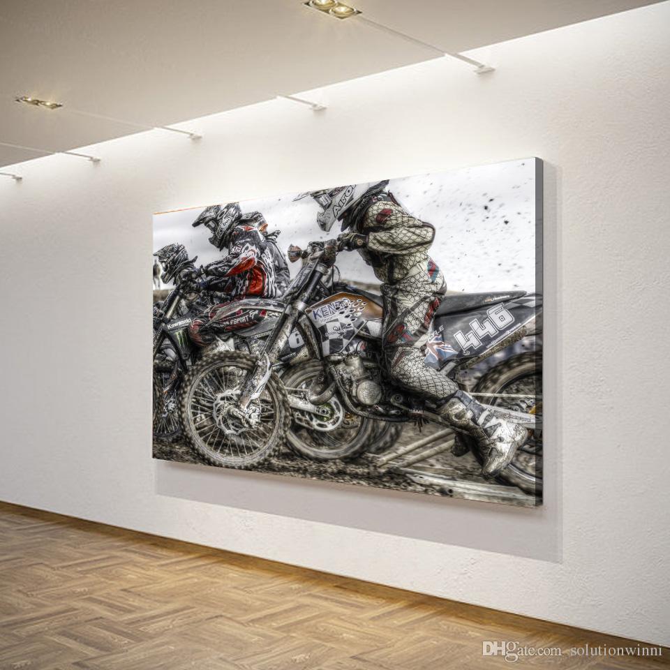 1 шт. HD печатных мотоцикл гонки спорт холст печать Хум декор обрамленные плакаты картина маслом настенные панно для гостиной
