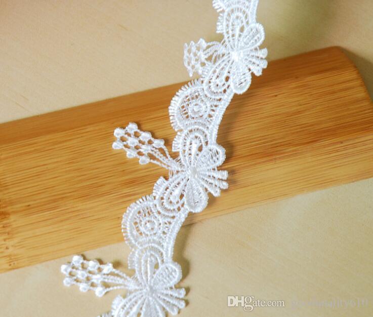 15Yard White Butterfly Tassel Cotton Lace Fabric Trim Ribbon For Apparel Sewing DIY Bridal wedding Doll Cap Hair clip