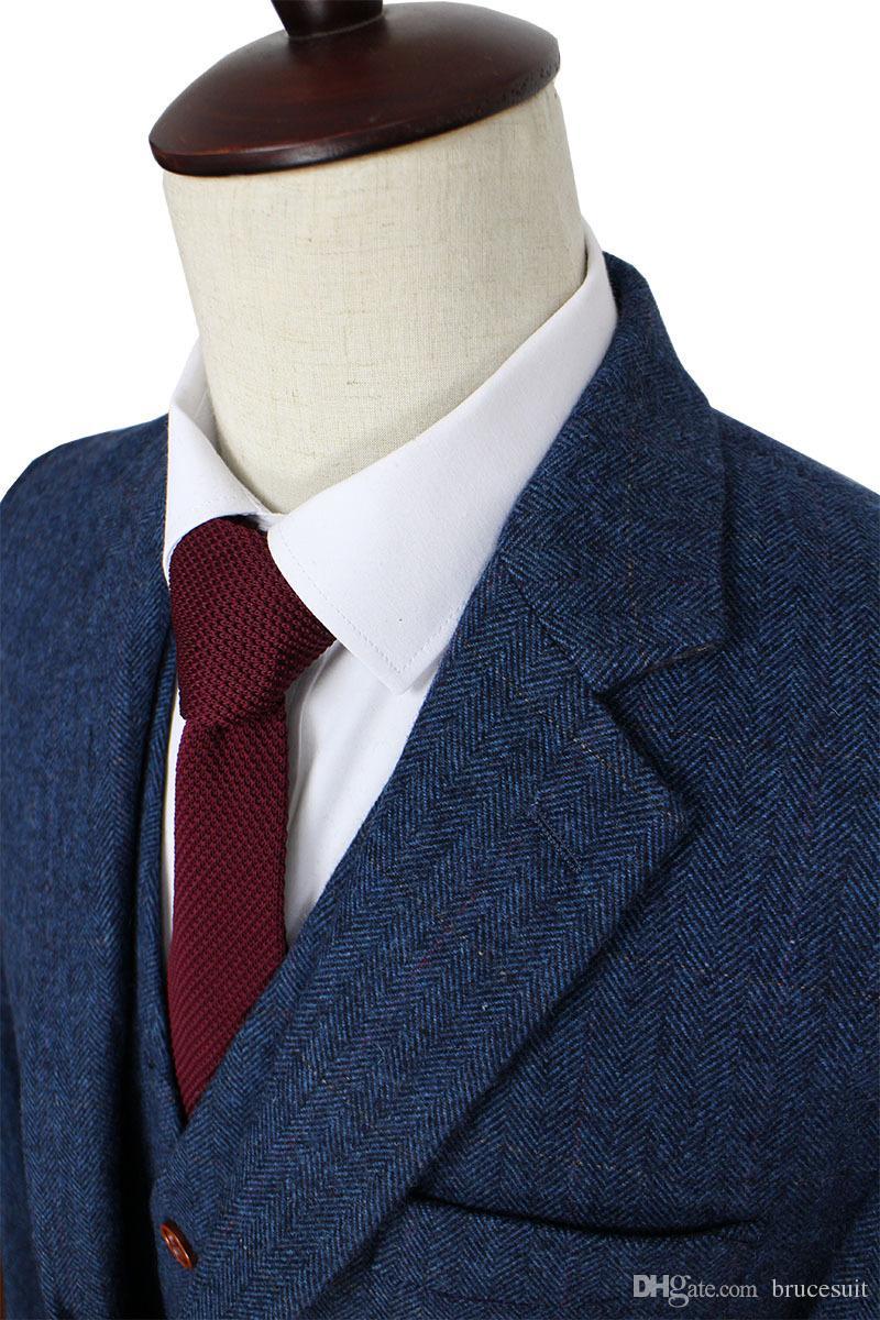Wolle Blau Herringbone Retro Gentleman Stil maßgeschneiderte Herrenanzüge Schneider Anzug Blazer Anzüge für Männer 3 Stück Jacke + Pants + Weste
