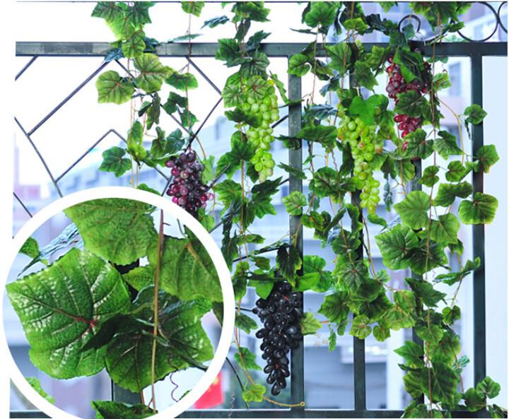 2019 Artificial Big Grapes String With Ivy Grape Leaves Vine Set For Home Decor Garden Wall Hanging Ornament Wedding Christmas Decorations From Feifei2016