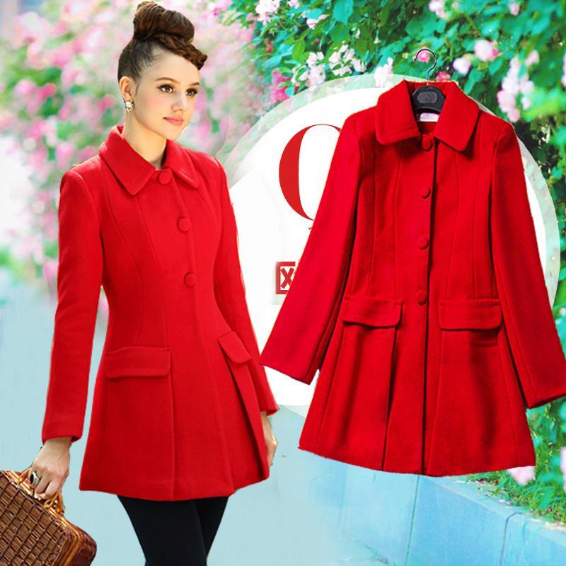 Milan Paris Luxury Big Brand Woolen Coat Long Sleeve Fashion Red ...