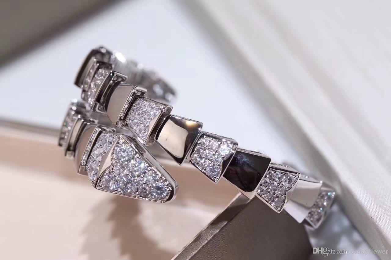 Mode élastique serpent CZ diamant manchette bracelet bracelet designer cuivre parti bijoux 18 k plaqué or pour les femmes