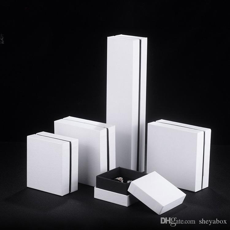 2019 White Paper Jewelry Packing Box Luxury Top Bottom