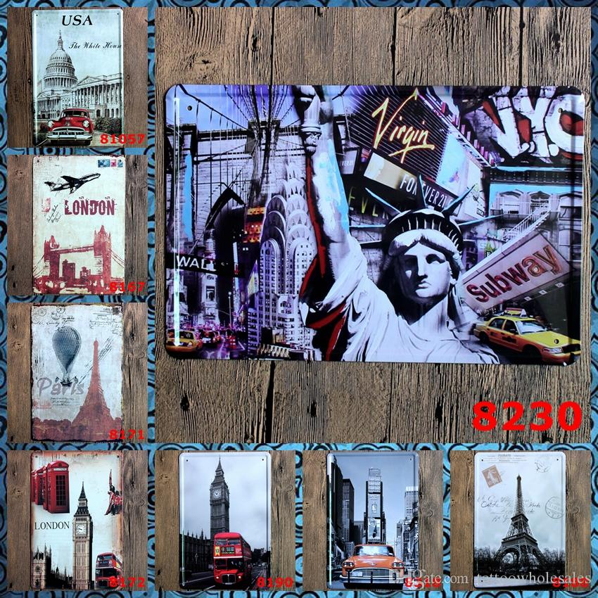 NY London Paris with Auto Retro Coffee Shop Bar Restaurant Wall Art ...