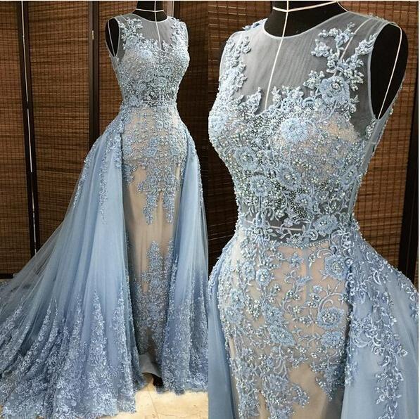 2019 엘리 사브 이브닝 드레스 분리 가능 오버 스커트 딥 브이 넥 일 루션 블루 그레이 진주 페르시 아로마 아플리케 조끼 Tulle Celebrity Prom Gown