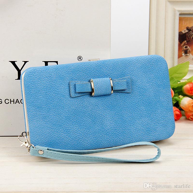 حقائب اليد محفظة متعددة الألوان في المقطع الطويل من حقيبة الهاتف Bowknot Lunch Box حقائب نسائية ذات سعة كبيرة