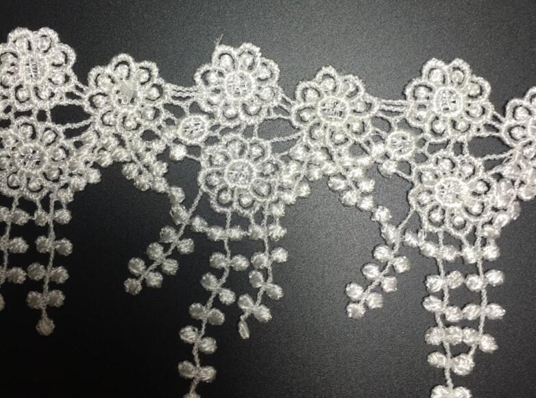 15Yard White Flower Tassel Cotton Lace Fabric Trim Ribbon For Sewing DIY Bridal wedding Doll Cap Hair clip