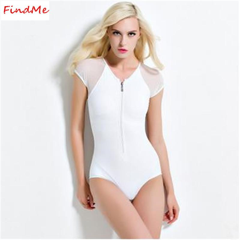 Women One Piece Swim Part - 21: Online Cheap 2016 White One Piece Zip Swimsuits Short Sleeve Sexy Ladies  Swimwear Summer Stylish Swimsuit One Piece Swimming Suit For Women Bathing  Suits By ...