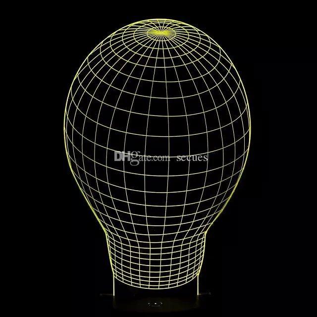 Hot Special Offer Ballon 3D Optical Night Light 7 RGB Light 10 LEDs DC 5V Battery Gift