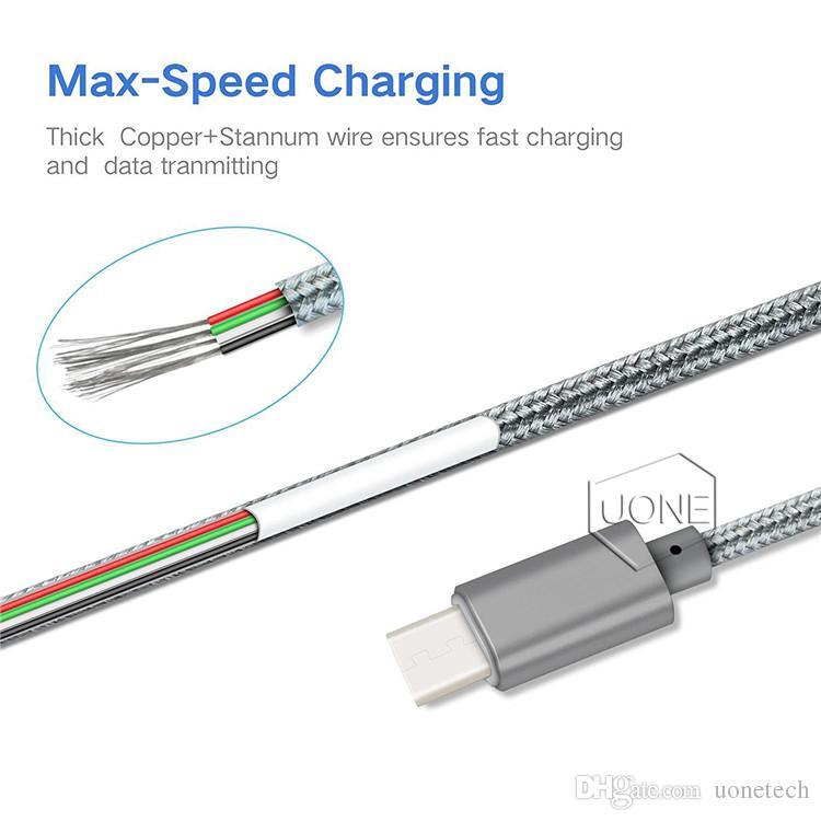 USB USB Tipo C Tipo de cable C a Tipo A carcasa de metal trenzado estañado duradero de alta velocidad por cable cargador USB micro para Android de tipo C Dispositivos