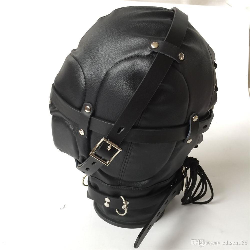 2018 Hot Soft Leather Bondage Whole Sealing Lace Up Hood Headgear Face Mask Eyepatch Dog Slave BDSM Bed Games Sex Product Flirting Toy