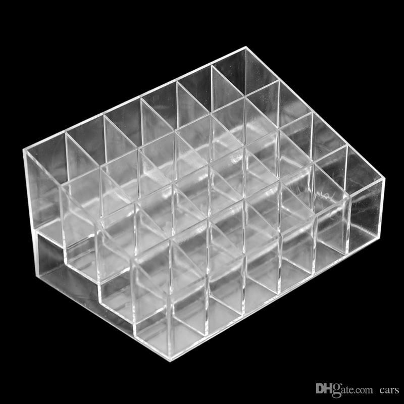 24 Lipstick Holder Display Stand Clear Acrylic Cosmetic Organizer Makeup Case Sundry Storage makeup organizer organizador free ship